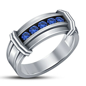 Mens 14K White Gold Over 1.12 Ct Round Cut Blue Sapphire Wedding Band Pinky Ring