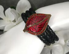 Vintage 3 Band Braided Leather HOT LIPS Brass Magnetic Clasp Bracelet