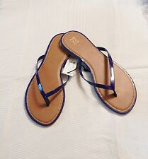 New York And Company Patent Tong Sandal Color  Beautifully BLUE-Size 7   #5/19-Y