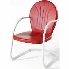 Pemberly Row Outdoor Patio Sturdy Metal Chair in Red