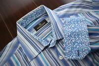 41212 Mens Bugatchi Uomo Designer Striped Button Up Dress Shirt Size Large