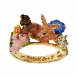 Les Nereides 14Ct Gold Plated Resting Deer Doe Ring Size M