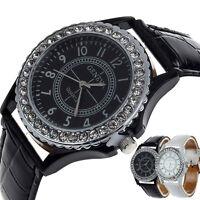 Crystal Womens Quartz Watch Dial Leather Ladies Wrist Watch Bracelet Gift