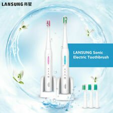 LANSUNG Ultrasonic Sonic Electric Toothbrush Rechargeable+4Pcs Replacement Head