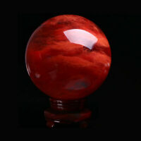 100MM+Stand Natural Red Quartz Crystal Energy Sphere Ball  Reiki Healing Mineral