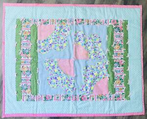 "32 x 40"" Vtg Patchwork Girl's Crib Quilt Hand Made Appliquéd Pink Yarn Ties"