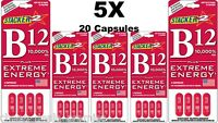 Genuine Stacker B12 Extreme Energy 4/Card (Lot of 5 Cards)= 20 Capsules B12 20