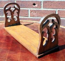 Victorian antique solid fretworked oak folding library book rack bookcase shelf