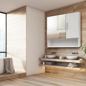 Bathroom Home Cabinet Medicine Cabinet Wall Mount Double 2-Door W/Shelf &Mirror
