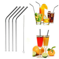 Stainless Steel Metal Drinking Straw Straws Bent Reusable Washable With Brush