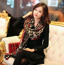 Women Leopard Print Long Cotton Scarf Wrap Ladies Shawl Large Silk Scarves Shawl