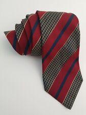 Bally 100% Silk Neck Tie 58.5 Inch Standard Classic Diagonal Red Blue Geomatric