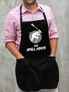 The Grill Ninja Apron / Funny BBQ Grilling Gift for Men - Dads & Grandpas