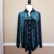 Blush blouse womens velvet green button down size medium