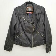 Vince Camuto Black Faux Leather Zip Moto Jacket Size XL