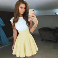 Womens Lace Party Cocktail Mini Dress Ladies Summer Pleated Skater UK Size 6-14