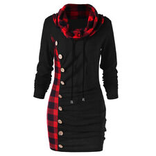 Womens Long Sleeve High-collar Hoody Sweater Hoodie Dress Loose Casual Long Tops