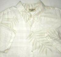 Caribbean Mens X-Large Shirt White Beige Hawaiian Palm Leaf Cruise Vacation XL
