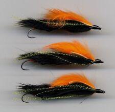 Trout Flies: Snake Flies. Orange on Black Tied in the UK x 3 size 8