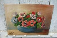 Vintage French Signed Still Life Peonies Oil on Board Painting Dated 1935