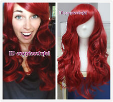 New Lady Stylish Red Long Wavy Curly Full Wig Cosplay Halloween Xmas Party Gifts