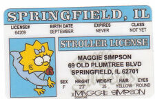 The Simpsons MAGGIE SIMPSON novelty collectors card Drivers License