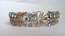 Vintage Crown Trifari Lt Blue Rhinestone Brushed Silvertone Leaf Bracelet Signed