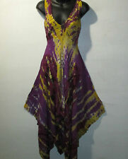 Dress Fits M L XL Purple Yellow Dashiki Tie Dye Print Racer Back Empire NWT 7273