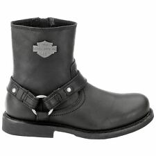 Harley Davidson Scout Mens Leather Zip Harness Wide Fit Casual Biker BOOTS Black 44