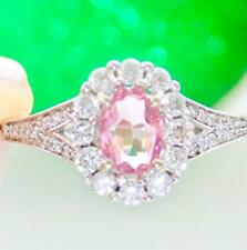 1.12CTW NATURAL MORGANITE DIAMOND HALO ENGAGEMENT SOLITAIRE RING 14K WHITE GOLD