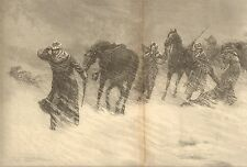 US Army, Cavalry Caught In A Blizzard by Zogbaum, Dbl Pg 1888 Antique Art Print