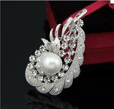 "2.4"" Vintage Look Tear Drop Pearl Diamante Rhinestone Crystal Flower Brooch Pin"