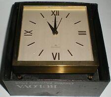 CLOCK BRASS BULOVA CORDLESS ELECTRONIC 4 LEG TABLE STYLE ORIGINAL MOVEMENT BOXED
