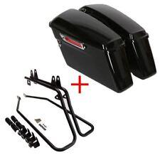 Glossy black Hard Saddlebags Saddle Bag & Conversion Brackets For HARLEY Softail