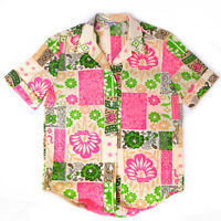 Vintage Durable Press Women's Pink & Green Patterned Hawaiian Top Shirt M