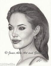 Angelina Jolie Portrait Giclee & Iris Pencil Art Print by artist Willie Jones Jr