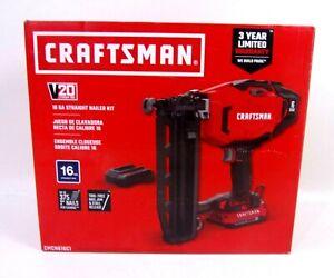 CRAFTSMAN V20 16ga Cordless Finish Nailer Kit Charger W/ 1 Battery CMCN616C1