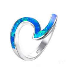 Fashion Silver plating Blue Fire Opal Wave Design Ring Party Jewelry Size 8