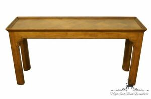 """HENREDON FURNITURE Solid Oak Rustic Country French 54"""" Sofa Table w. Parquet ..."""