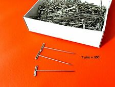 """T PINS HAT WIG CRAFT HOBBY PINS 2"""" (50 mm) BOX of 350 INCLUDES POSTAGE"""