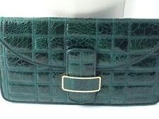 Pochette vintage vert vernis cuir croco
