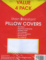 4 x STAIN RESISTANT Standard Pillow Protectors NEW
