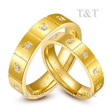 T&T 14K Gold GP S.Steel 5mm Engagement Wedding Band Comfort Fit Ring For Couple