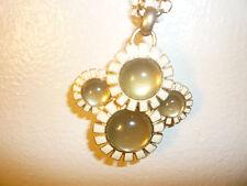 vintage long white enamel, yellow stone coldwater creek flower necklace