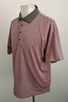 Mens Calvin Klein Golf Pink / Grey Striped Golf Polo Shirt VGC - Size Large