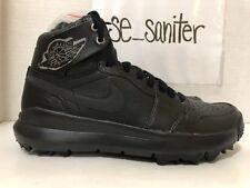 Nike Air Jordan 1 Retro Premium Triple Black Golf Cleats Ah2114 001 Sz 10