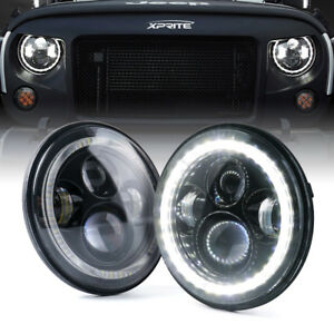 "Xprite 7"" 90W LED Headlight w/ White Halo Ring for 07-18 Jeep Wrangler JK/JKU"