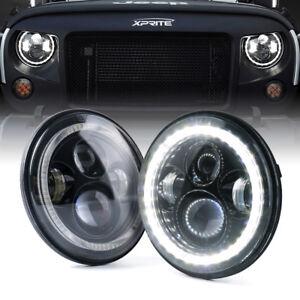 "Xprite 7"" 90W LED Headlight w/ White Halo Ring for 07-18 Jeep Wrangler JK/JKU"