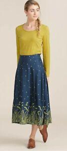 Seasalt Skirt UK 10 Midi Hantergentick Wheat Blue Cotton Blend Loose Pleat