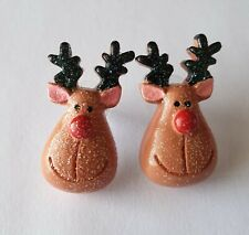 RUDOLPH the  REINDEER  RESIN EARRINGS, FREE GIFT BAG & SAME DAY POSTAGE
